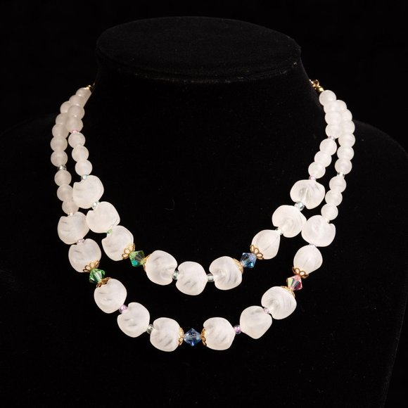 Vintage Frosted Lucite and Glass Bead Necklace